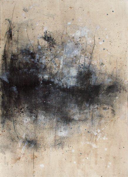Sans titre, topos0112 - pt.I - 2012 Huile, brou de noix, pierre noire et crayon sur papier.  29,5 x 40,5 cm.